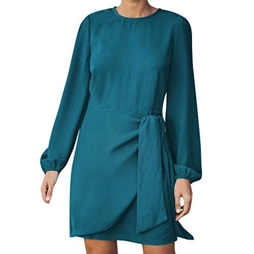 Elecenty Damen Sommerkleid,Langarm Farbverlauf Rock Mädchen Hemdkleid Blusekleid Punkte Knielang Kleider Frauen Mode Kleid Minikleid Knielang Kleidung Partykleid (L, Blau)