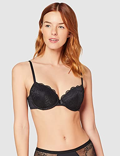 Amazon-Marke: Iris & Lilly Hopaa00013g Damen BH, 2er Pack, Mehrfarbig (Black/White), 75E, Label: 34DD