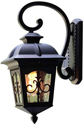 Meixian Wandlamp, retro dakverdieping, vintage lantaarn, glas, waterdicht, energiebesparend, voor in de tuin, terras, ijzeren decoratie, binnen en buiten, E27, eenvoudig retro