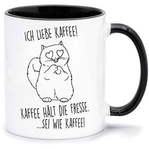 Katzen-Tasse mit Spruch Ich liebe Kaffee, Kaffee hält die Fresse Keramik Weiß, innen & Henkel schwarz