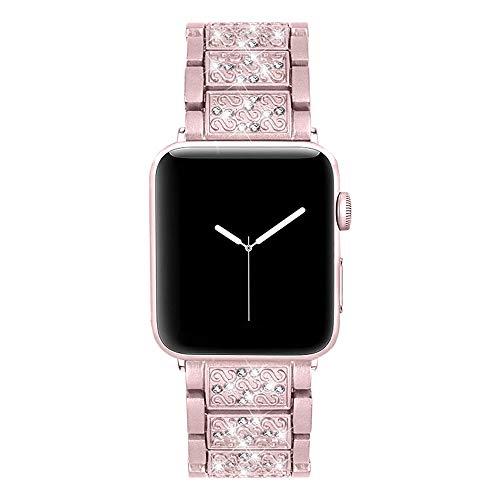 PULLEY Compatible con Apple Watch Band de 42 mm y 44 mm de diamantes de imitación de cristal para iWatch Luxury Wristband Diamond Series 5 4 3 2 1 (color: rosa, tamaño: 44 mm)