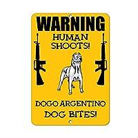 """新しい金属マークアルミマークDogoアルゼンチン犬人間射撃面白いガレージ家裏庭アウトドア&インドア8""""x12"""""""