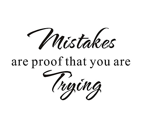 "Mistakes are Proof that you are Trying School Nursery Education Teacher Classroom Mural DIY Quote Saying Inspirational Vinyl Wall Sticker Decals Transfer Removable Words (Size3: 23.2"" x 14.1"")"