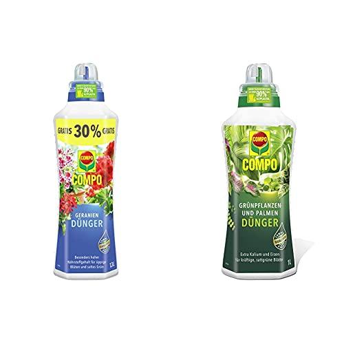 COMPO Geraniendünger für Geranien und alle stark zehrenden Pflanzen auf Balkon und Terrasse, 1,3 Liter & Grünpflanzen- und Palmendünger für alle Zimmer-, Balkon- und Terrassenpflanzen, 1 Liter