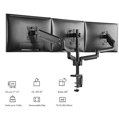 WALI Premium Triple LCD Monitor Desk Mount Fully Adjustable Gas Spring Stand for Display Up to 27 Inch, 15.4lbs Capacity (GSDM003), Black
