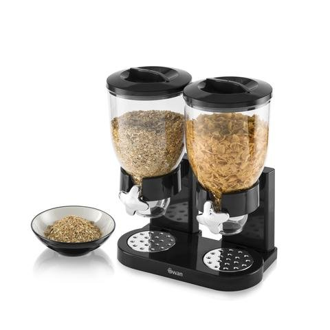 Swan Doble dispensador de Cereales, Negro, 3,5 L