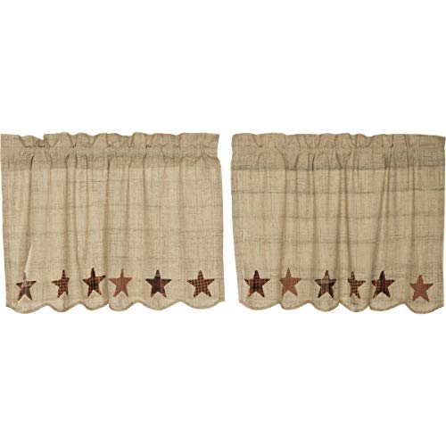 VHC Brands Abilene Star Tier Set of 2 L24xW36 Country Curtains, Tan