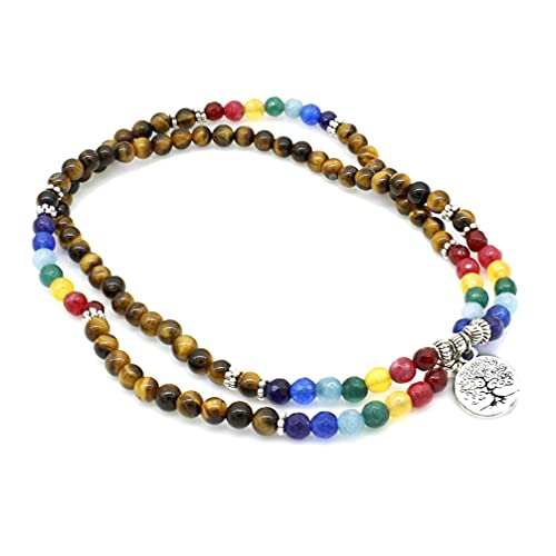 Liart Pulsera de 7 Chakras 6mm 108 Mala Cuentas de Oración Pulsera Envolvente Árbol de la Vida Colgante Collar Dijes Joyería para Mujeres y Hombres