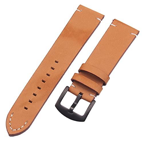 Correa Reloj Relojes de Reloj 18 20 22mm de Cuero Genuino Italiano marrón Oscuro Hombre Negro Mujer Hecha a Mano Vendimia Reloj de muñeca Correa Correa de Hebilla metálica Reemplazo