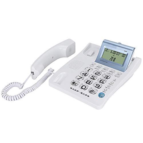 Witte vaste telefoon met snoer, vaste telefoon beller-ID ondersteuning voor bureautelefoon wekker, rekenmachinefunctie, handsfree-functie en functie voor interferentie-onderdrukking