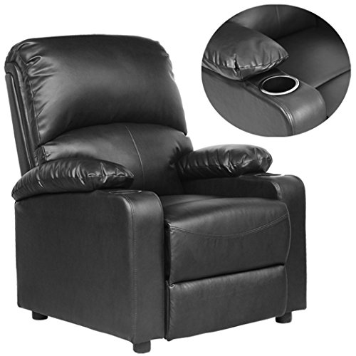 kino real leather recliner w drink holders armchair sofa. Black Bedroom Furniture Sets. Home Design Ideas