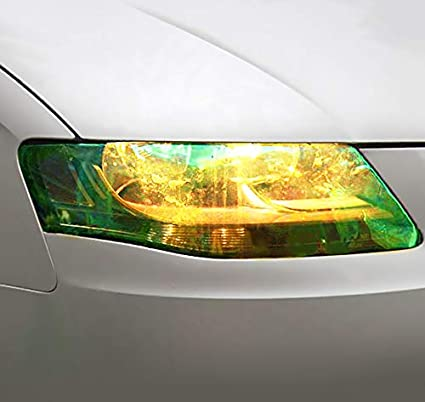 Protection /& Style 30x100cm Golden Yellow Glitter Car Headlight Tint Film