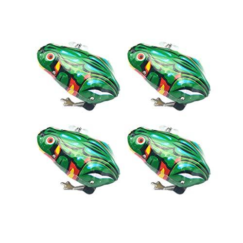 NUOBESTY 4 Stücke Aufziehspielzeug Frosch Spielzeug Froschspiel Blechspielzeug Aufziehfigur Wind Up Figur Uhrwerk Spielzeug Baby Kinder
