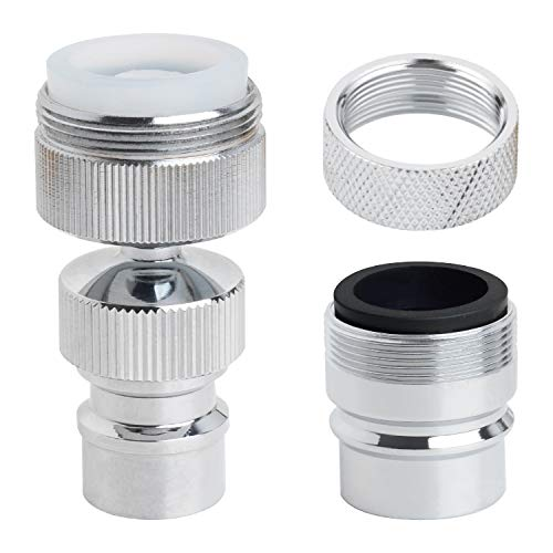 2 PACK Dishwasher Faucet Adapter, Dishwasher Snap Adapter Connection, One with Swivel Ball Joint and The Other One with Faucet Aerator, 15/16-27Male Outside and 55/64-27Female Inside, Chrome