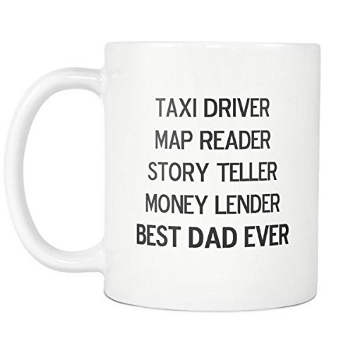 lilihome Dad Coffee Mugs - Taxi Driver, Map Reader, Story Teller, Money Lender, Best Dad Ever - 11 oz Ceramic Coffee Mug - Ideal Gift from Son or Daughter for Birthday, Christmas, or Father's Day.