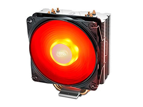 DeepCool Gammaxx 400 V2 Dissipatore di Raffreddamento 4 Heatpipes con Ventola LED Rosso PWM Silenziosa da 120mm per CPU Socket Intel 1155 1151 1150 1366 e AMD AM4 AM3 AM2 AM3+ FM1 FM2 FM2+