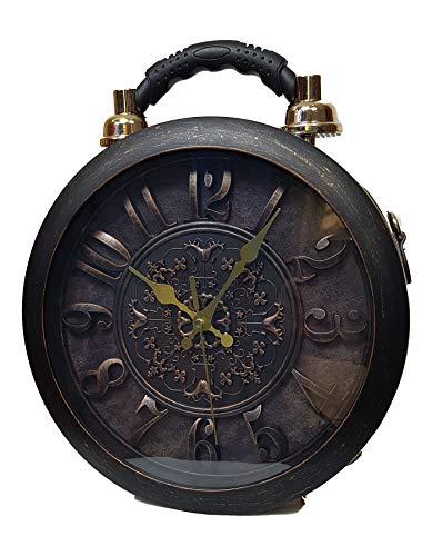 Einkaufszauber Designer Handtasche mit echter Uhr Schwarz