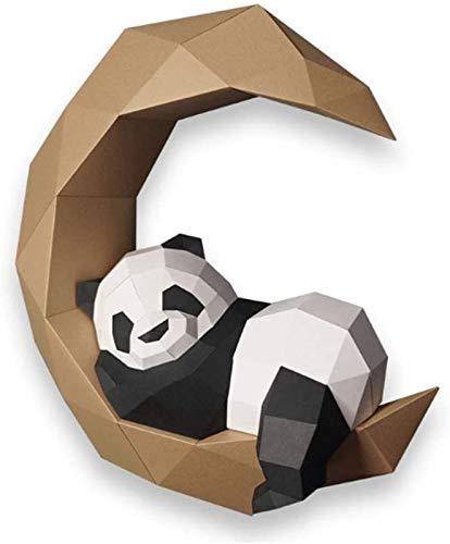 WQF Modelo de Papel de Origami 3D DIY Moon Panda Paper Art Craft 3D Animal Montado en la Pared DIY Escultura Puzzle Juguetes de Papel Manualidades Actividad Puzzle Hecho a Mano