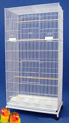 "Mcage 55"" X-Large Multiple Flight Bird Aviary Budgie Canary Finch Breeding Cage with Rolling Stand (White)"
