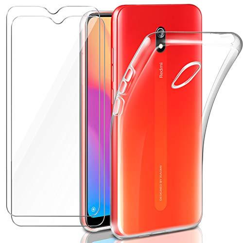 """Leathlux Cover Xiaomi Redmi 8A Custodia Trasparente + 2 × Pellicola Vetro Temperato Redmi 8A, Morbido Silicone Custodie Protettivo TPU Gel Sottile Cover per Xiaomi Redmi 8A 6.2"""""""