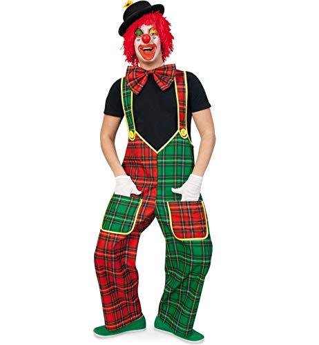 KarnevalsTeufel Herrenkostüm Clownhose McCheck Latzhose Grün-rot Spaßvogel Clownkostüm in verschiedenen Größen erhältlich (XXX-Large)