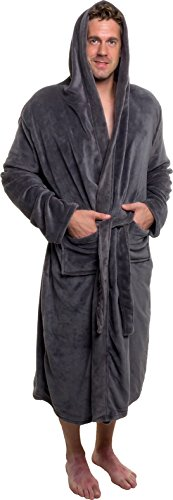 Ross Michaels Men's Hooded Robe - Plush Shawl Kimono Bathrobe for Men (Grey, XXL)