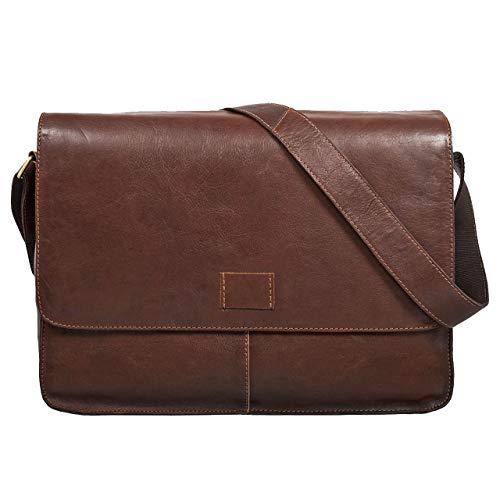 STILORD 'Hannes' Bolso Bandolera Hombre Piel Vintage Grande marrón Bolso para Tablet PC...