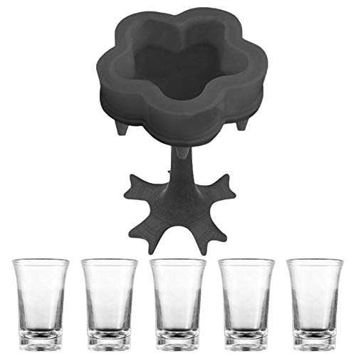 Biggystar 5 Schnapsglas-Spender und -becher-Set – Spender für Flüssigkeiten, blumenförmiger Schnapsglas-Spender, Getränkespender, Cocktail-Spender, ideal für Zuhause, Bar, Party