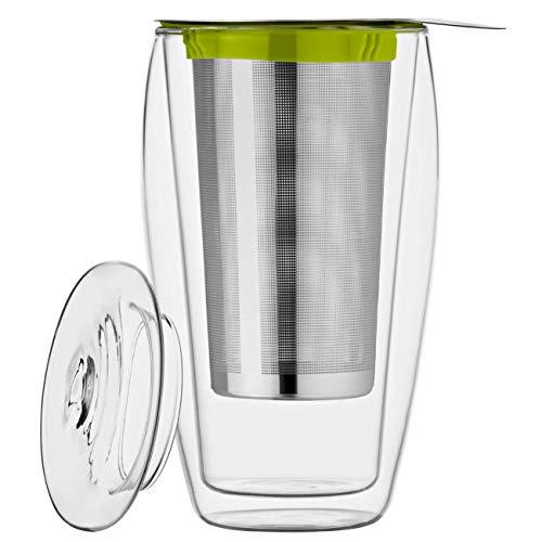 400ml XL dubbelwandige theepot met filter en glazen deksel, thermoglas met zweefeffect, ideaal voor losse thee, ijsthee, voor kantoor, onderweg of als cadeau, bedida by Feelino