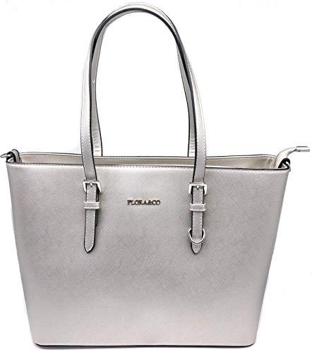 Flora & Co Shopper Tasche Damen Silber Saffiano Henkeltasche Büro Arbeit
