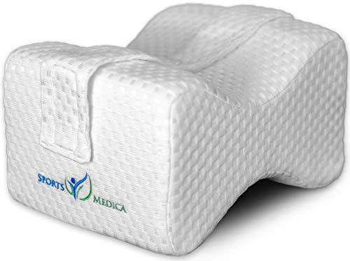 Doctor Developed Knee Pillow - Doctor Written Handbook Included - Orthopaedic Memory Foam Wedge for Side Sleepers, Sciatica, Lower Back Pain - Leg Pillow for Side Sleeping