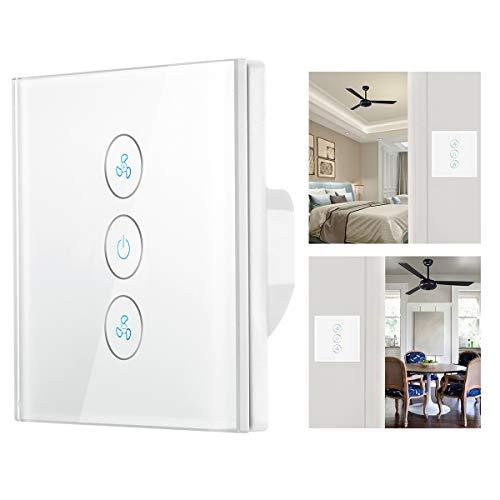 OurLeeme Interruptor de Ventilador de Techo, Smart WiFi Interruptor táctil Control de Velocidad APLICACIÓN Control de Voz Compatible con Alexa/Google Home (se Necesita Cable Neutro)