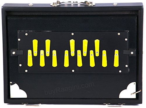 Shruti Box, Maharaja Musicals, Professional Shruti Box, Schwarz, Long Sustain, 13 Notes, 13 x 9,5 x 3 Zoll, mit Tasche, Sur Peti Surpeti, G to G Tuned, Shruthi Box (PDI-656)