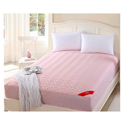 LJP Quilted Thick Mattress Cover Sweat Absorption Breathable Brushed Mattress Protector Topper Cover With 4 Elastic Bands (Color : Pink, Size : 180x200cm)