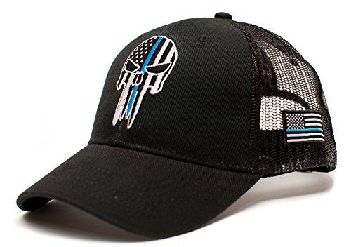 Posse Comitatus Punisher Skull Thin Blue Line USA Flag Adult One-Size Cap Hat Black