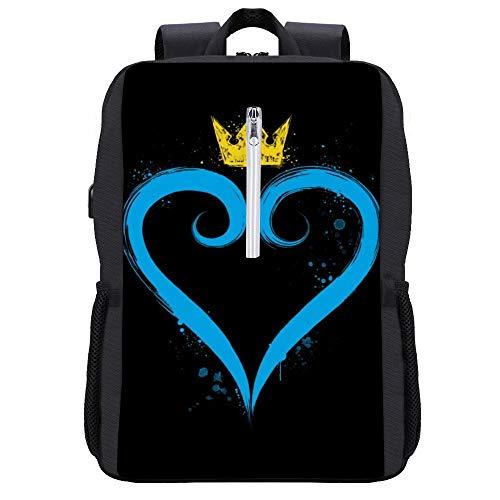 Kingdom Hearts Crown Heart Mochila para portátil con puerto de carga USB