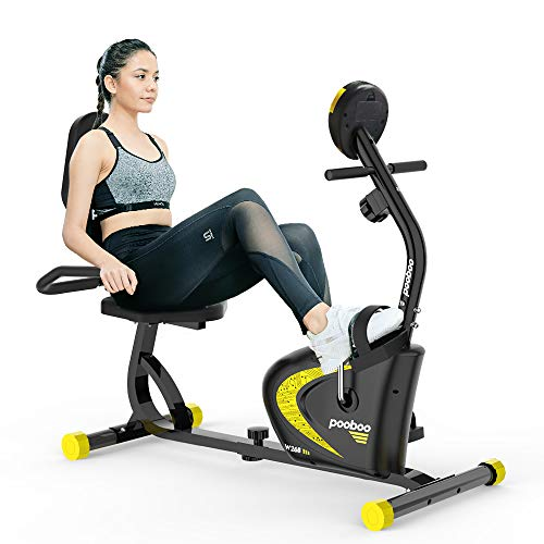 pooboo Recumbent Exercise Bike with Adjustable Magnetic Resistance,Indoor Cycling Stationary Bike with Heart Pulse Sensors