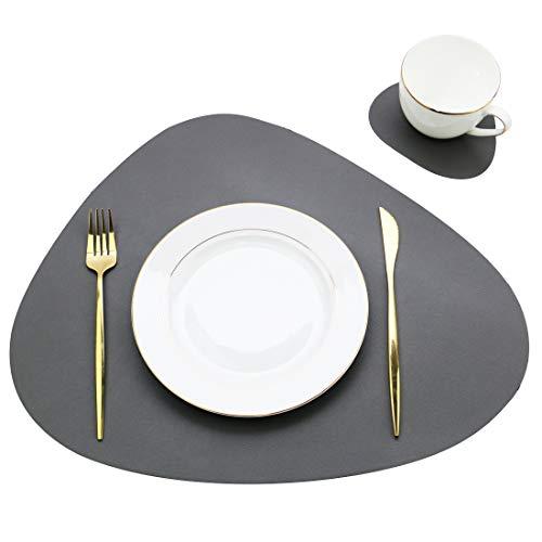 Olrla PU-Leder-Essmatten 2er-Set, Tischsets und Untersetzer Packung mit 4 Stück, für Party Home Gathering (Dunkel grau, 2 Tischsets + 2 Untersetzer)