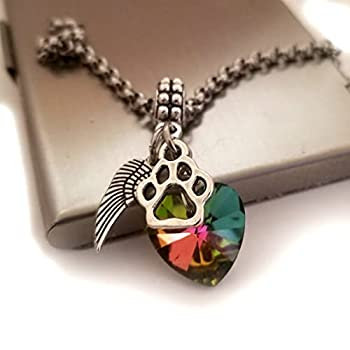 Pet Loss Memorial Gift Rainbow Bridge Jewelry Bracelet Necklace with Dog Cat Paw Print Angel Wing Charm