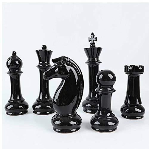 Hwydo Juego de figuras de ajedrez de cerámica única para decoración de mesa, 6 unidades, color negro