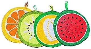 Home-Well Kitchen Hand Towels Set, Dish Towel Set - Summer Kitchen Towels Pack of 4 - Lemon Kitchen Towels with Hanging Loop, Microfiber Cleaning Cloth