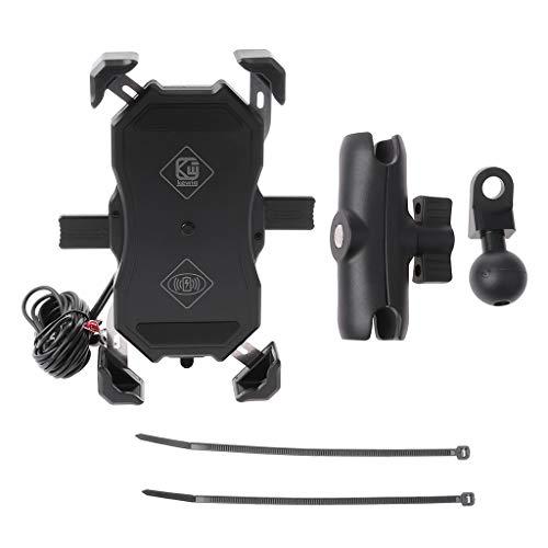 BANGNA Impermeable Motocicleta 15W Qi Cargador inalámbrico Soporte QC3.0 Soporte para teléfono móvil USB