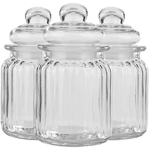 My-goodbuy24 3er Set Luftdichte Vorratsdosen mit Deckel Bonbonglas aus Glas Vorratsglas Bonboniere Vorratsbehäter Aufbewahrung 300ml - 13cm x 8cm x 8cm
