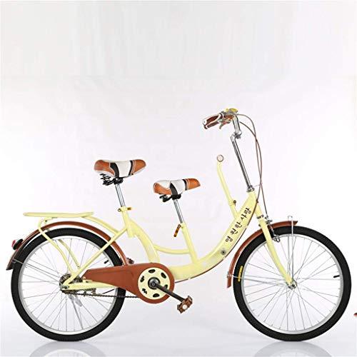 BOC Eltern-Kind-Fahrrad Weibliche leichte Mutter und Kind Doppelte gewöhnliche Reise Vintage Retro Gürtel Zaun Erwachsener, Beige, B,Rosa,B