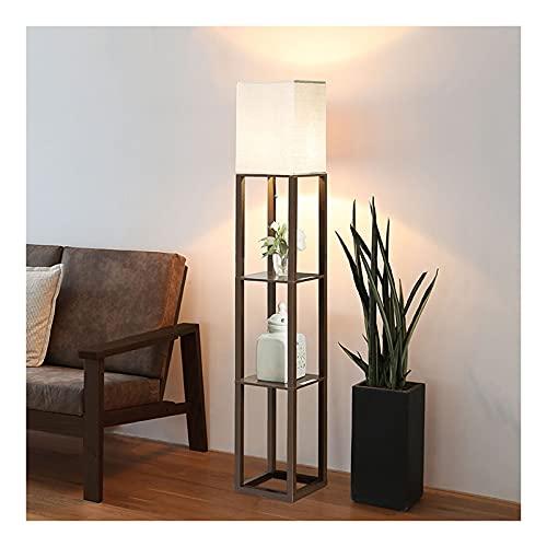 Indoor Standlamp met planken, staande lamp met houtweergave Opslagplanken voor slaapkamer nachtkastje woonkamer…