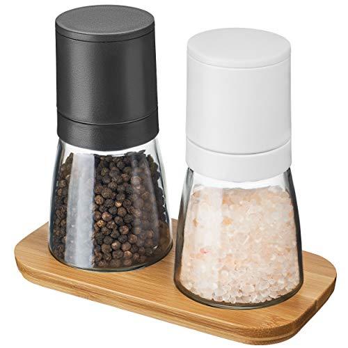 MUCOBI ® Salz und Pfeffer Mühle - 2er Set mit Holzständer - Perfekt für Arbeitsfläche und Esstisch - Gewürzmühle - stufenloses Keramikmahlwerk