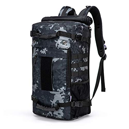 Mardingtop 40L Duffle Backpack Molle Travel Sports Gym Carry-On Bag for Men Women (6346-Black Multicam)