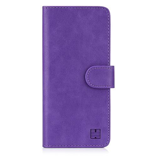 32nd PU Leder Mappen Hülle Flip Hülle Cover für Motorola Moto E6 Plus, Ledertasche hüllen mit Magnetverschluss & Kartensteckplatz - Violett