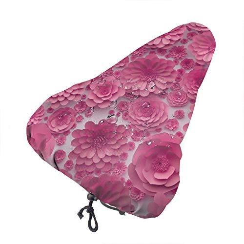 Funda para sillín de bicicleta-Valentine Pink Paper Flower Fundaa de bicicleta Protección Funda de cojín de bicicleta para bicicleta de montaña Cruiser Stationary Full Wrap Asiento de bicicleta