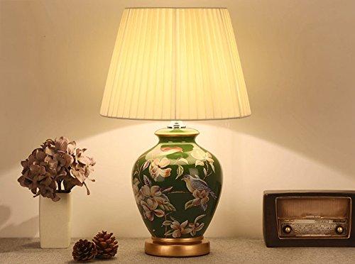 NPZ- Amerikanischer Landhausstil warme Tischlampe Keramik Leichter Körper Tuch Lampenschirm Schlafzimmer Wohnzimmer Tischlampe Beleuchtung und Armaturen ( Farbe : A )